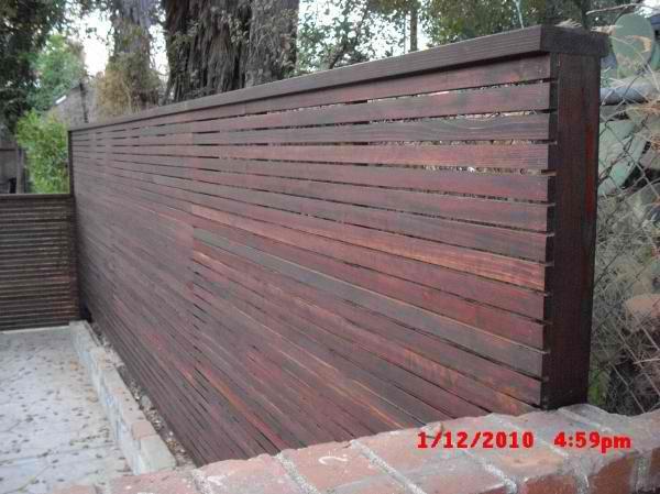 horizontal wooden fences | Custom 1x2 redwood modern horizontal fence & gates patio enclosure ...