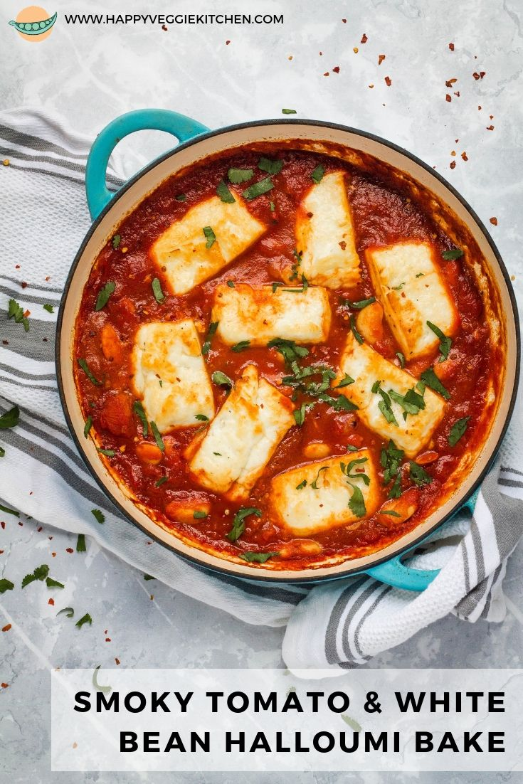 Halloumi and white beans baked in a rich, smoky, Spanish inspired tomato sauce! This is a simple but stunning one pot vegetarian meal that is on the table in just 30 minutes. With lots of different serving suggestions, you will never tire of making this amazing halloumi bake for dinner.#vegetarian #vegetarianrecipes #halloumi #meatlessmonday #meatless