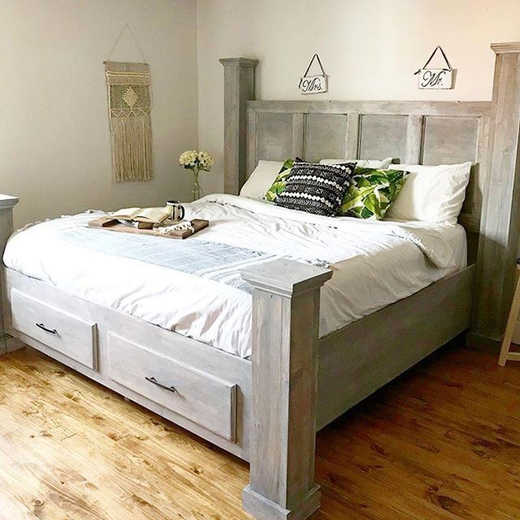diy farmhouse bed frame queen