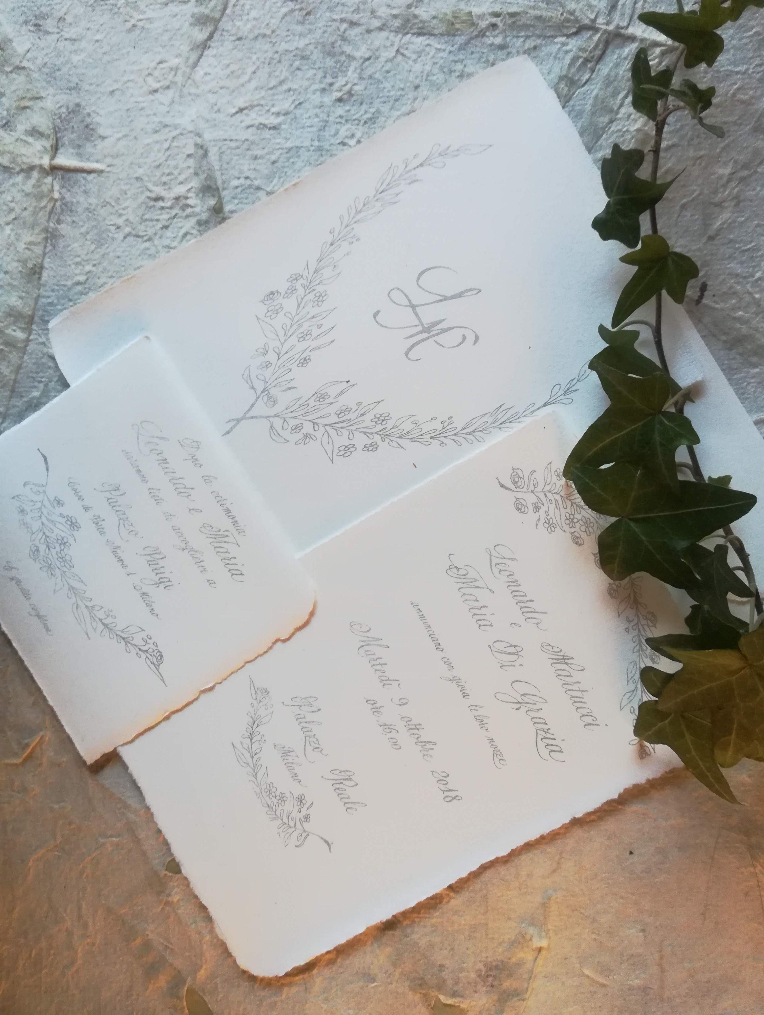 Partecipazioni Matrimonio Inglese.Partecipazioni Di Matrimonio Calligrafiche Carta Amalfi E Corsivo