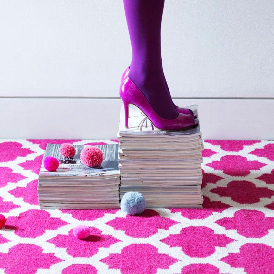 Nolita Geometric Rug Fuchsia and Cream - Rugs - Home Accessories - Homeware