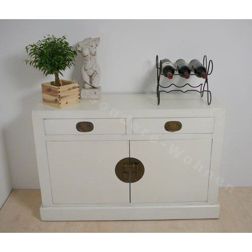 Commode chinoise blanche 2 tiroirs - Commodes chinoises - Commodes