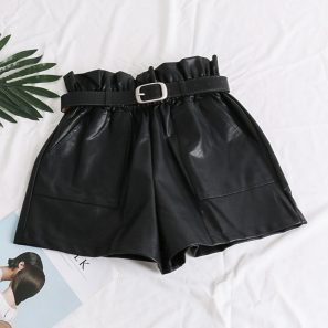 Elastic High Waist Loose PU Leather Shorts