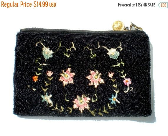 November Sale Black Seed Beaded Clutch Purse with by RibbonsEdge