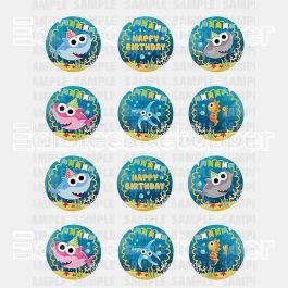 Baby Shark Edible Cupcake Toppers (12 Images) Cake Image Icing Sugar Sheet Edible Cake Images #pictureplacemeant