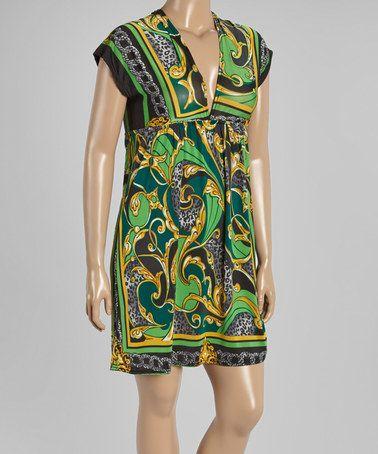 Lime & Gray Status Empire-Waist Dress - Plus #zulily #zulilyfinds