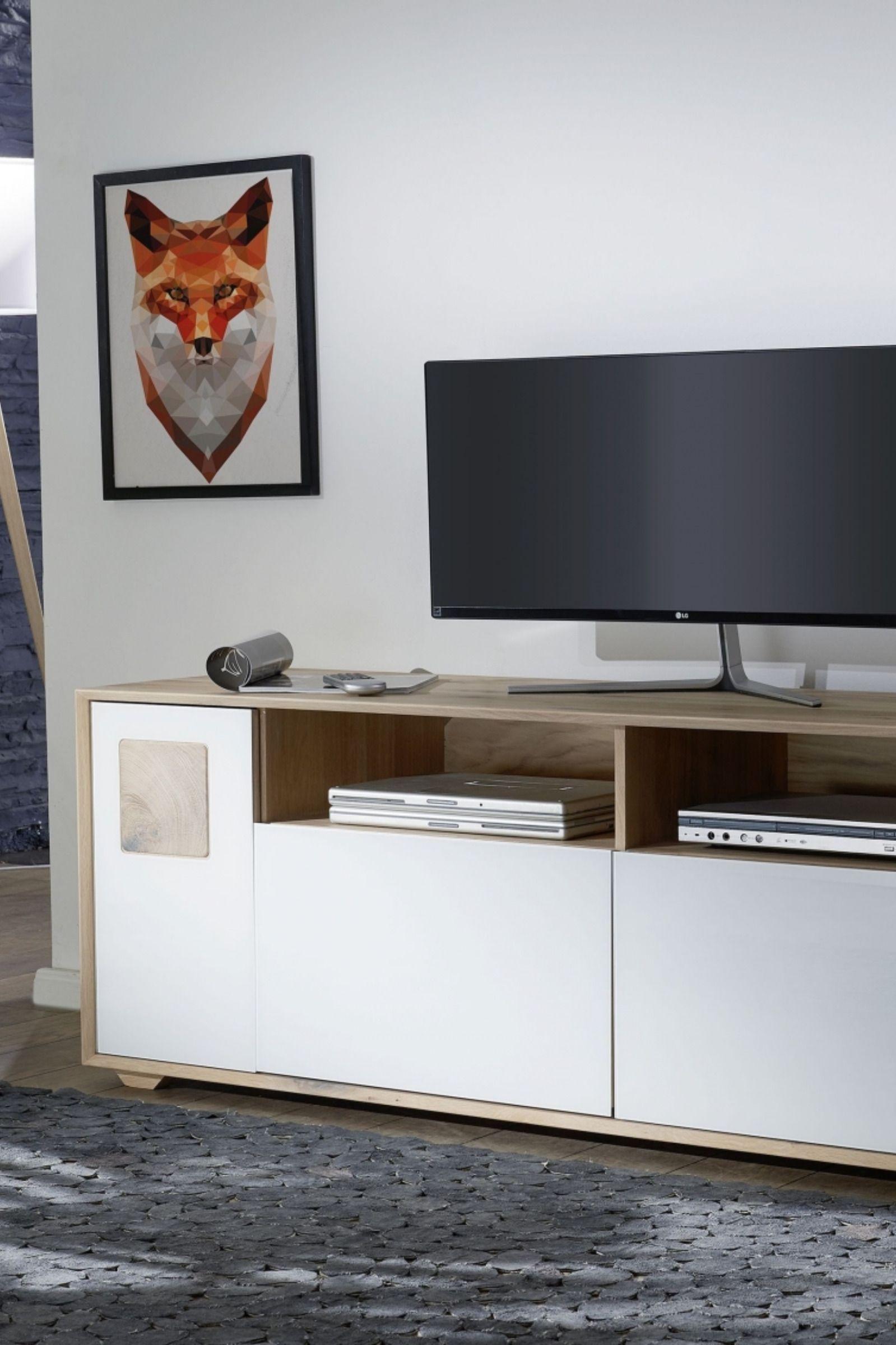Tv Board Wildeiche 180x50x58 Bianco Geolt Munchen 220 Wohnen