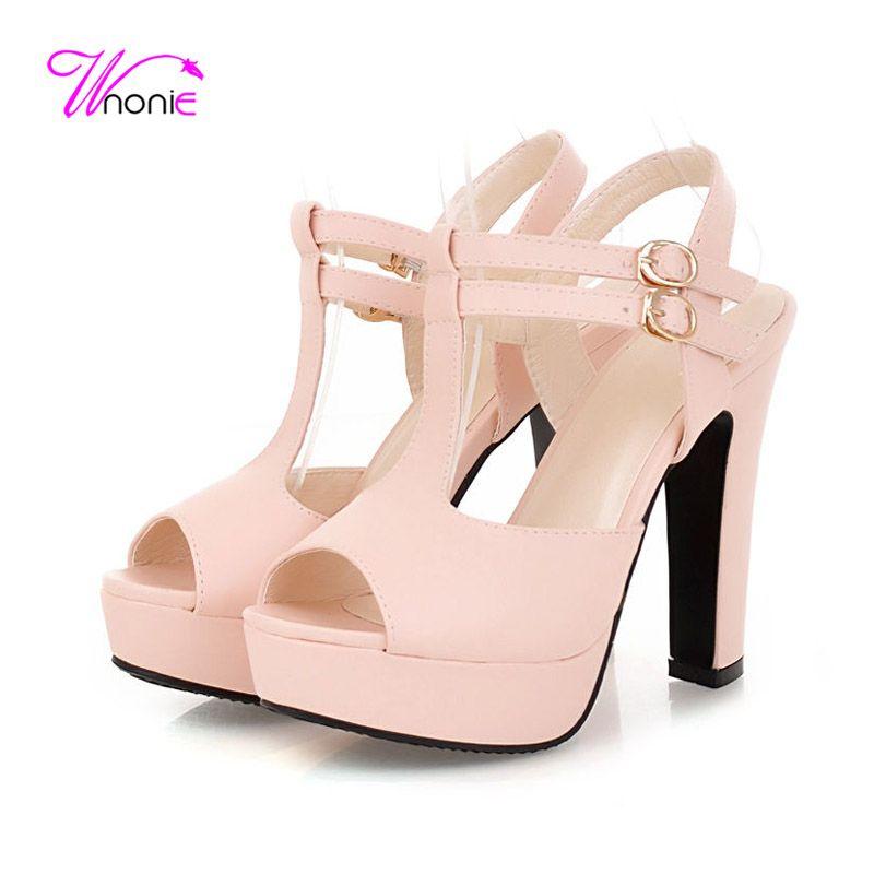 Shoes For Women PU Chunky Heel Heels Peep Toe Platform Slingback T-Strap Sandals Party Evening Dress Dress Casual