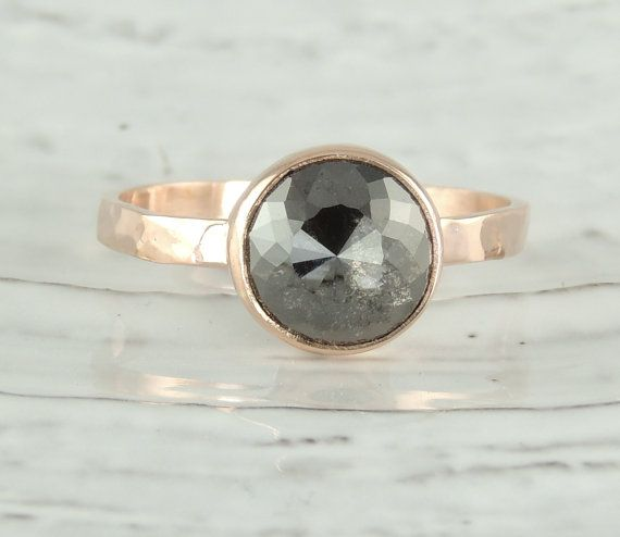 Black Diamond Engagement Ring 14k Rose Gold by PointNoPointStudio