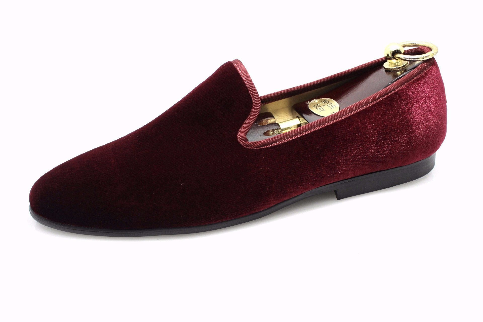 85c8c62f6d7 Smythe   Digby Men s Albert Slipper Leather Velvet Loafer Burgundy ...
