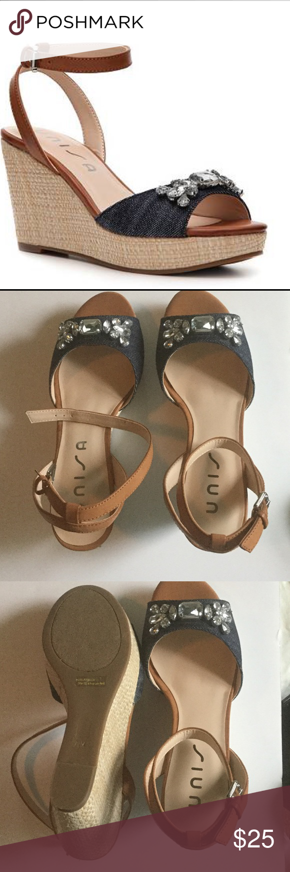 Unisa Krios denim embellished wedges Brand new!  Never worn! Denim with rhinestone embellishment Shoes Wedges