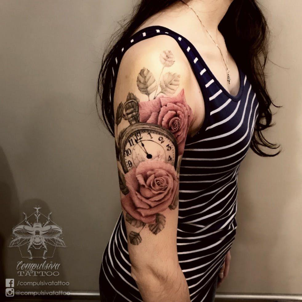 #realism #realistic #realismo #realistictattoo #realistictattoos #clocktattoo #rose #rosetatto