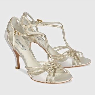 1f424a4efb6 Benjamin Adams Wedding Shoes. Preston ~ retro glam strappy bridal sandal.  Ivory silk trimmed with gold leather. A fabulous