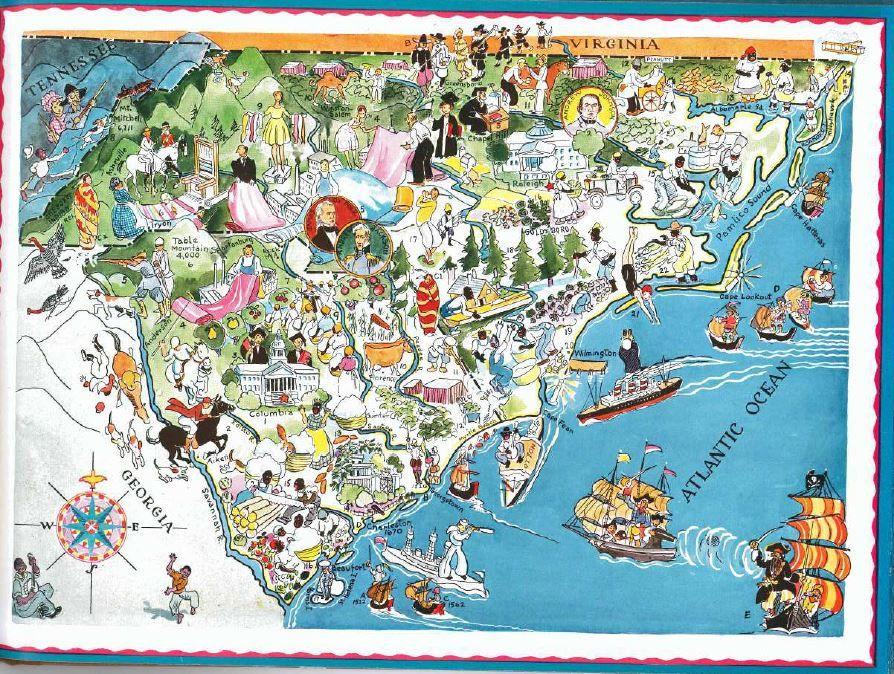 Vintage South Carolina Map.South Carolina Map North Carolina Map Vintage Map Wall Art Old