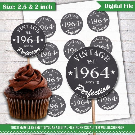 55th Birthday Cupcake Toppers 1964 Vintage Aged To Perfection