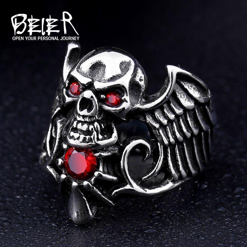 Beier nieuwe winkel 316l rvs ring top kwaliteit ontworpen gevleugelde ring met steen mannen zirconia sieraden br8-163