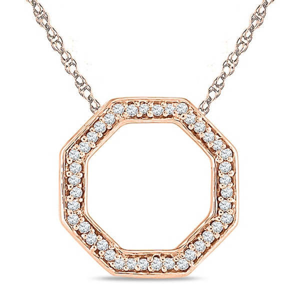 Diamond Accent Outline Octagon Pendant In 10k Rose Gold Diamond Rose Gold Pendants
