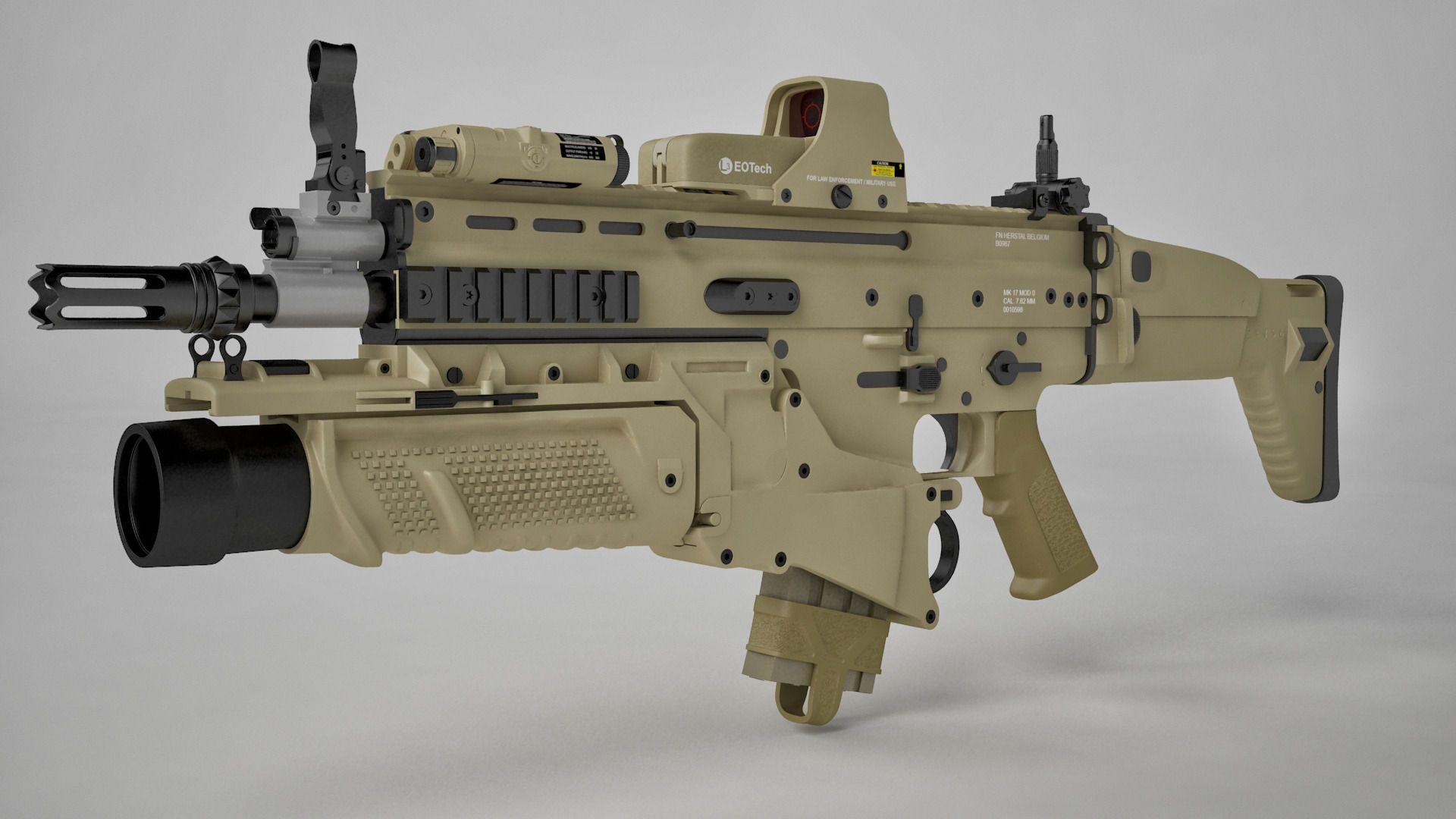 Combat Assault Rifle FN SCAR-H 3D model   Soldiers ...