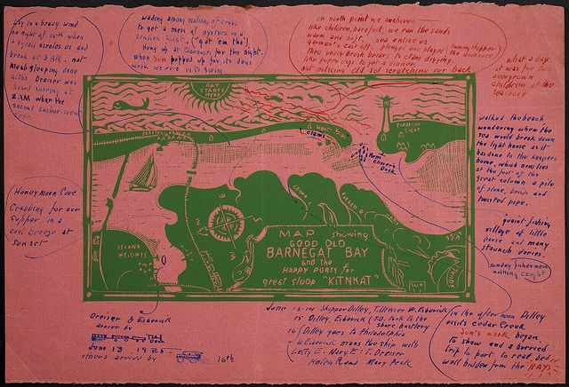 Map Showing Good Old Barnegat Bay And The Happy Ports For Great Sloop Kitnkat Barnegat Bay American Modern Wharton Esherick