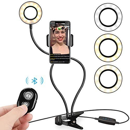 LED Ring Light Phone Clip with Flexible Long Arm for iPhone//Android Phone 9-Level Brightness Yimaler Selfie Ring Light with Cell Phone Holder Stand for Live Stream Dimmable 3-Light-Mode