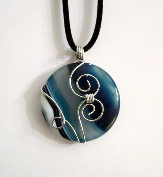 Blue Onyx Agate Wire Wrapped Pendant Necklace $24.00