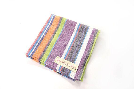 Mens Pocket Square Orange Purple Grey StripeOnce by speaklouder, €22.00