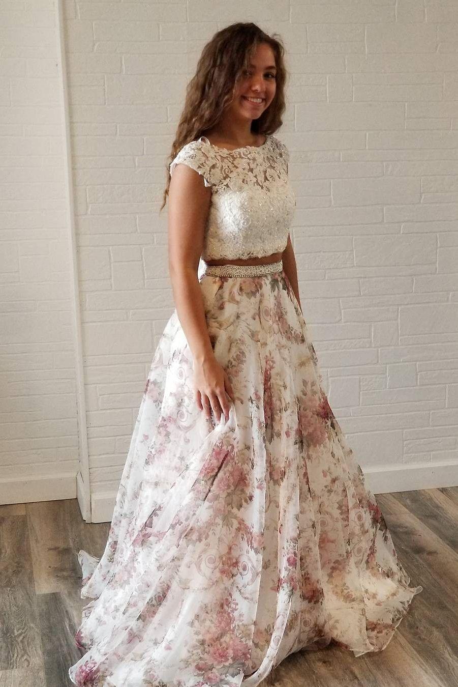 Unique two piece white lace and floral print long party dress