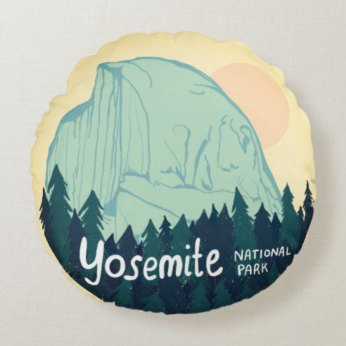 Yosemite National Park Half Dome Teal Yellow Round Pillow