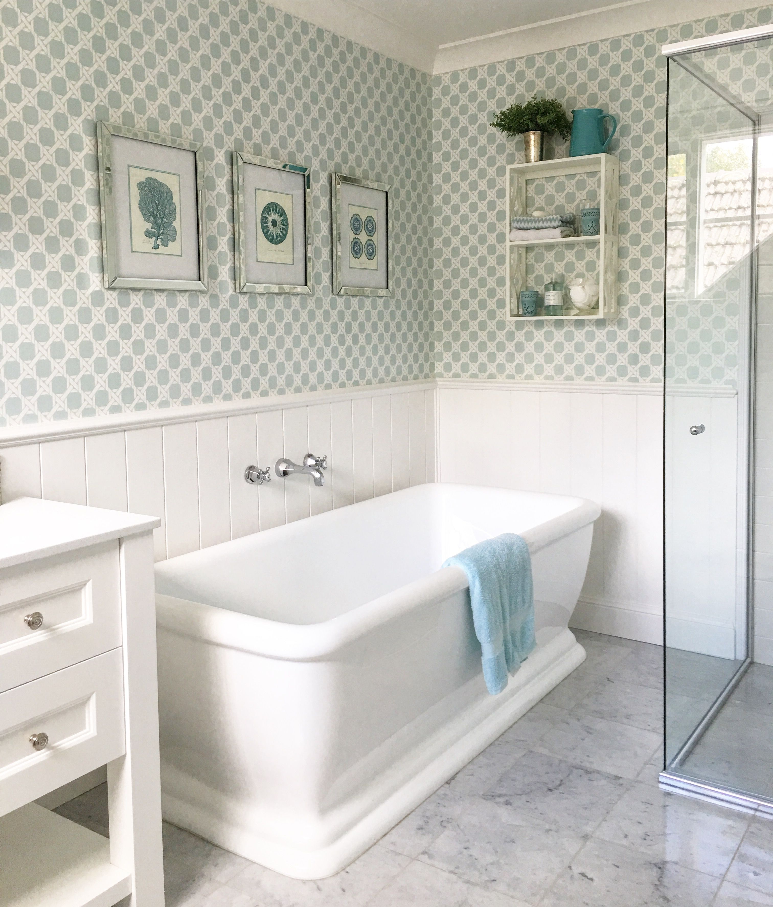 Aqua and white bathroom marble floor tiles freestanding tub aqua and white bathroom marble floor tiles freestanding tub chrome tapware custom doublecrazyfo Image collections