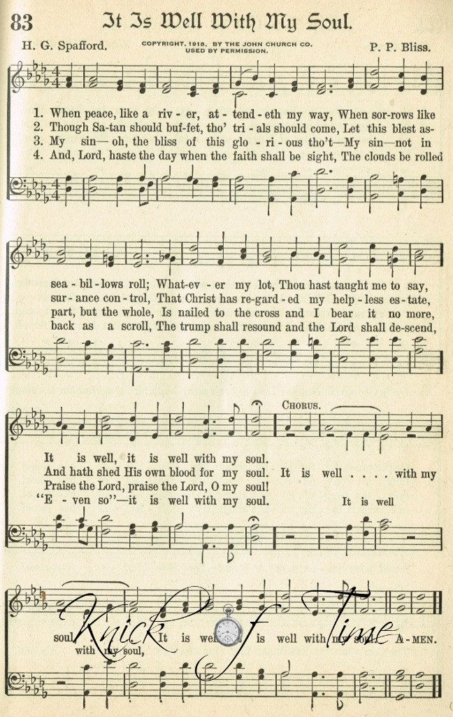 Digital Download Printable Hymn Page - IT IS WELL With My Soul - for
