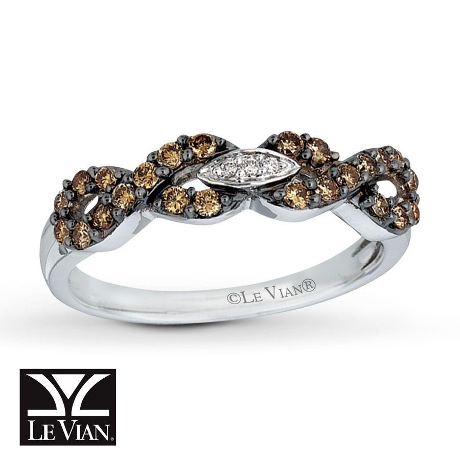 Kay LeVian Chocolate Diamonds 38 carat Ring 14K Vanilla Gold