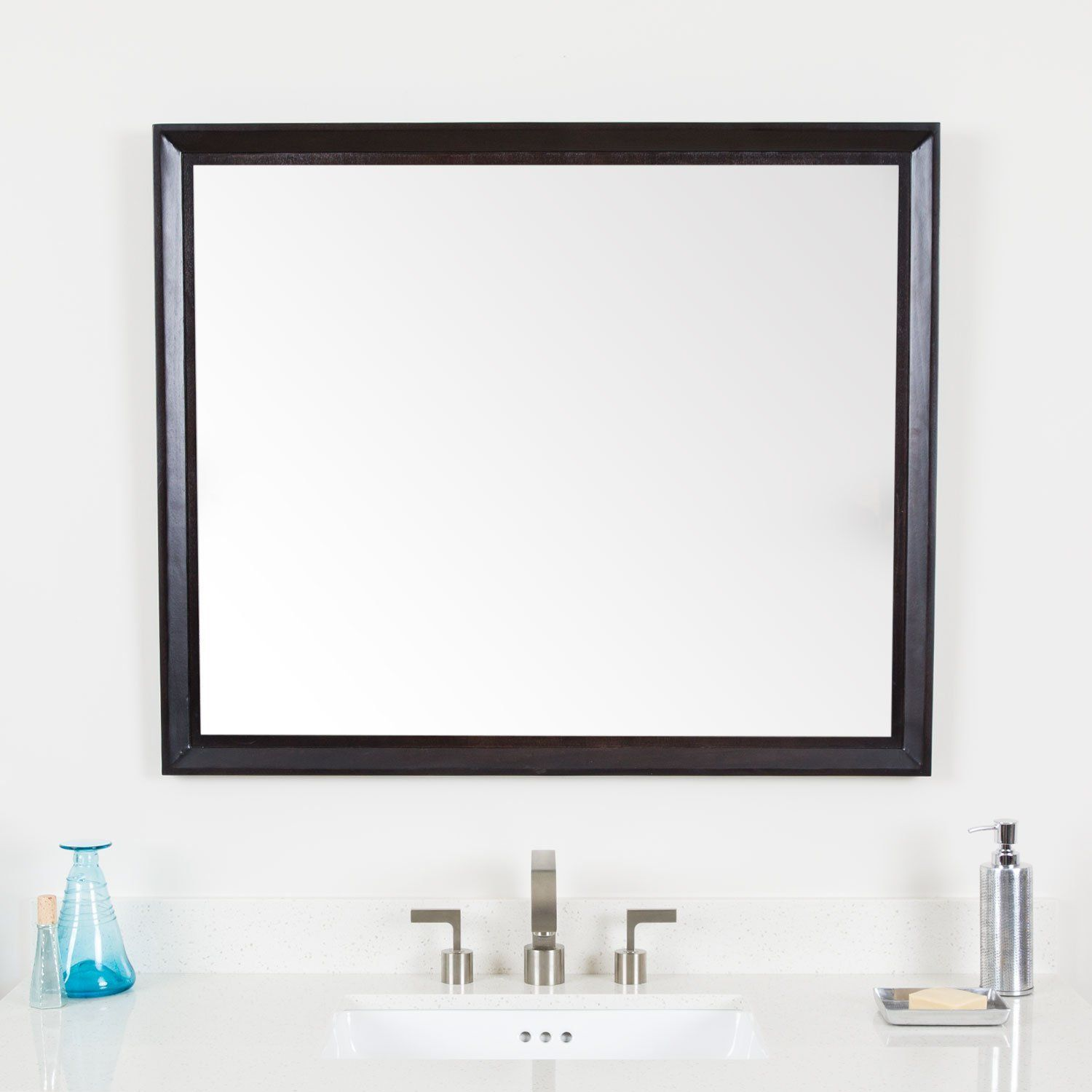 Maykke Imogen 30 H X 36 W Rectangle Brown Wall Decor Bathroom Vanity Mirror Wood Framed Mirrors For Wood Framed Mirror Bathroom Wall Decor Brown Wall Decor