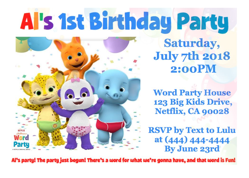 Word Party Netflix Birthday Invitation Word Party Netflix