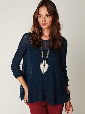 New Free People Oversized Willows Pullover in Deep Blue Size Small