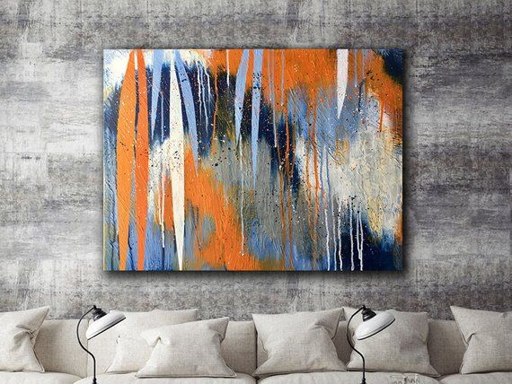 Canvas Print Orange Blue Navy White Gray Abstract Contemporary Etsy Wall Art Canvas Painting Abstract Painting