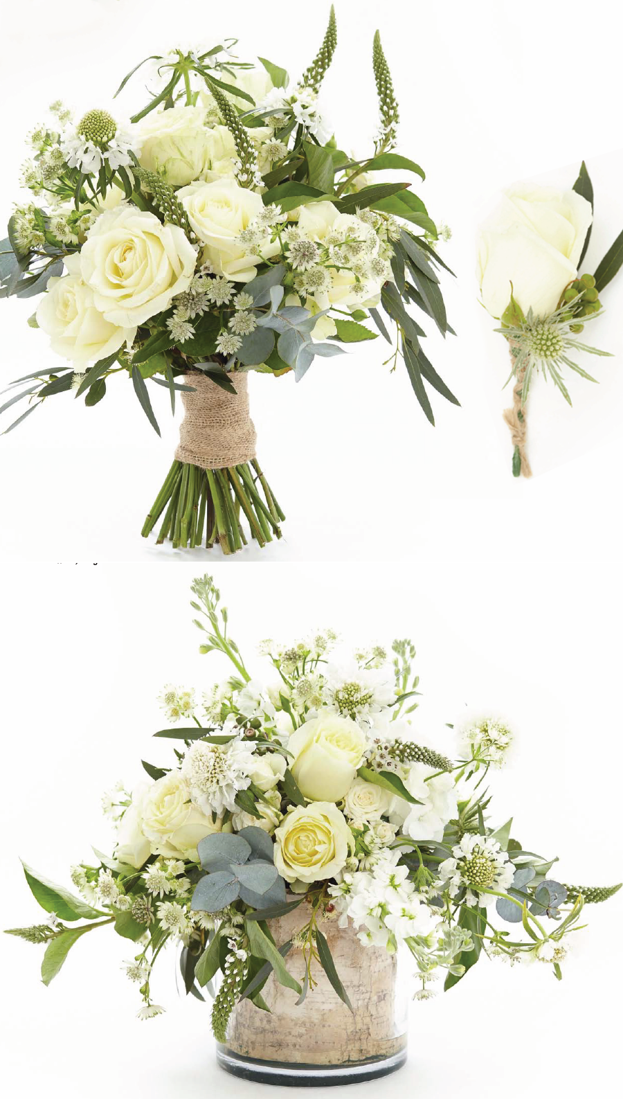 Hand tied bouquet of avalanche and african queen roses white white and ivory flowers are timeless and this classic choice of colour palette will complement any style of wedding these unstructured arrangements are izmirmasajfo