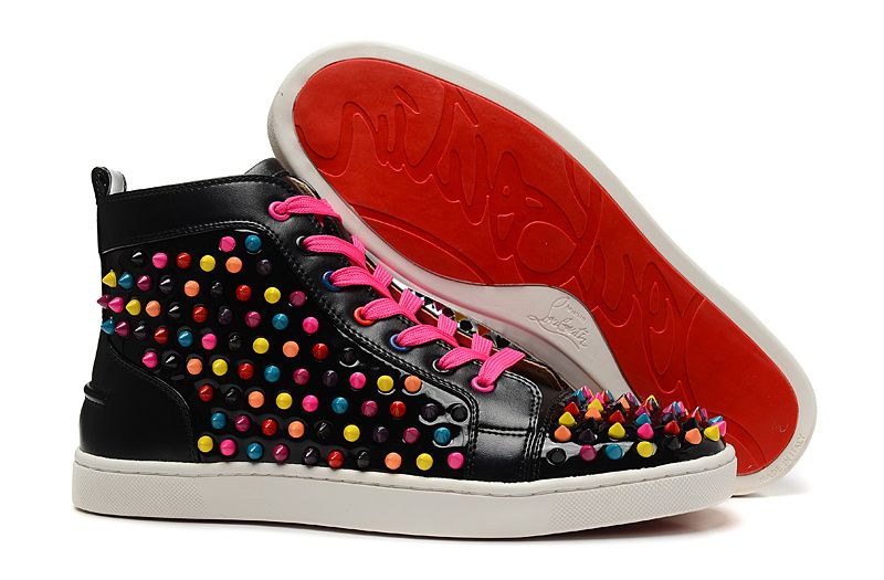 Christian Louboutin Louis Multi Spikes Mens Flat High Top Patent Leather Sneakers  Black
