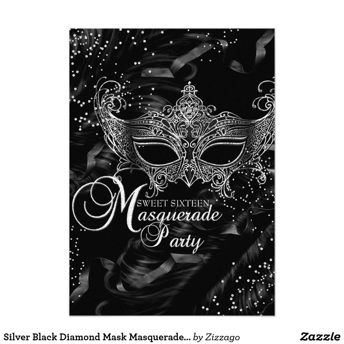 Silver Black Diamond Mask Masquerade Sweet 16 | MASQUERADE SWEET ...