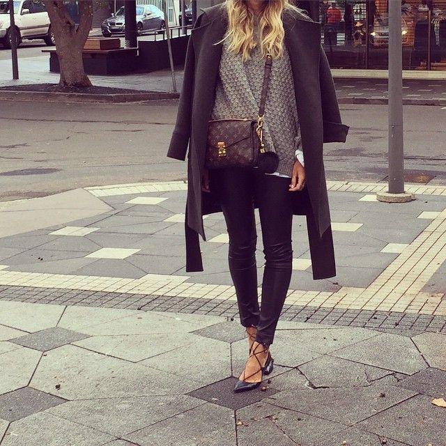fbb4ae77d3e9 Today...  sambag leather pants  watsonandwatson jacket  h m knit   louisvuitton bag  aquazzura flats