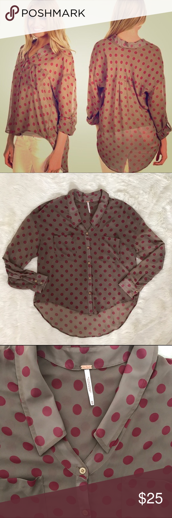 Free People pink brown polka dot Blouse Top small This is a Free People light brown and pink color Blouse. It is in excellent condition with no flaws. Size small and 100% polyester. Free People Tops Blouses
