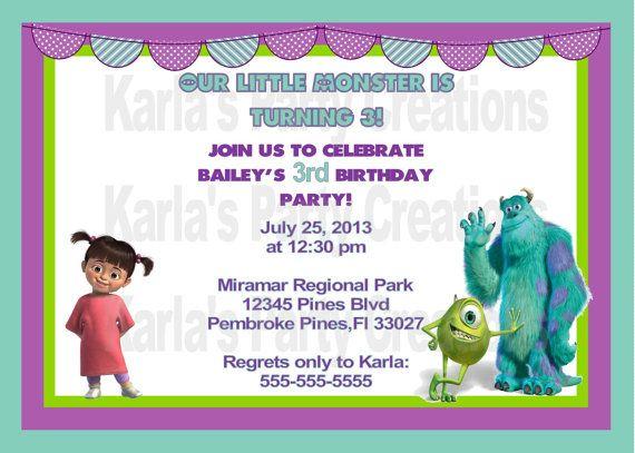 Invitaciones de cumpleaños de Monster INC para imprimir - Imagui ...