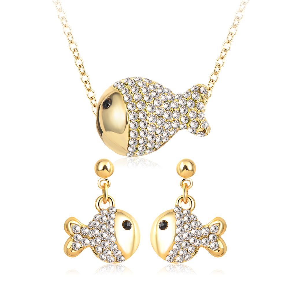 women crystal jewelry sets goldwhite gold color lovely fish