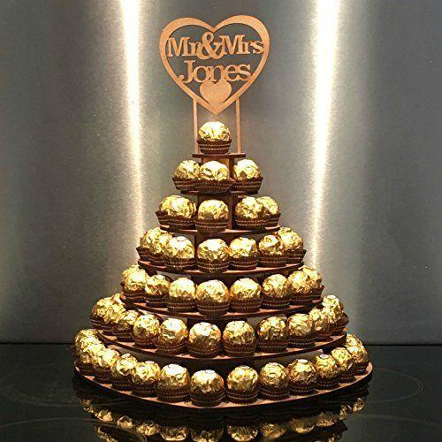 Photo of 7 Tier Heart Shape Personalised Mr & Mrs Ferrero Rocher Pyra…