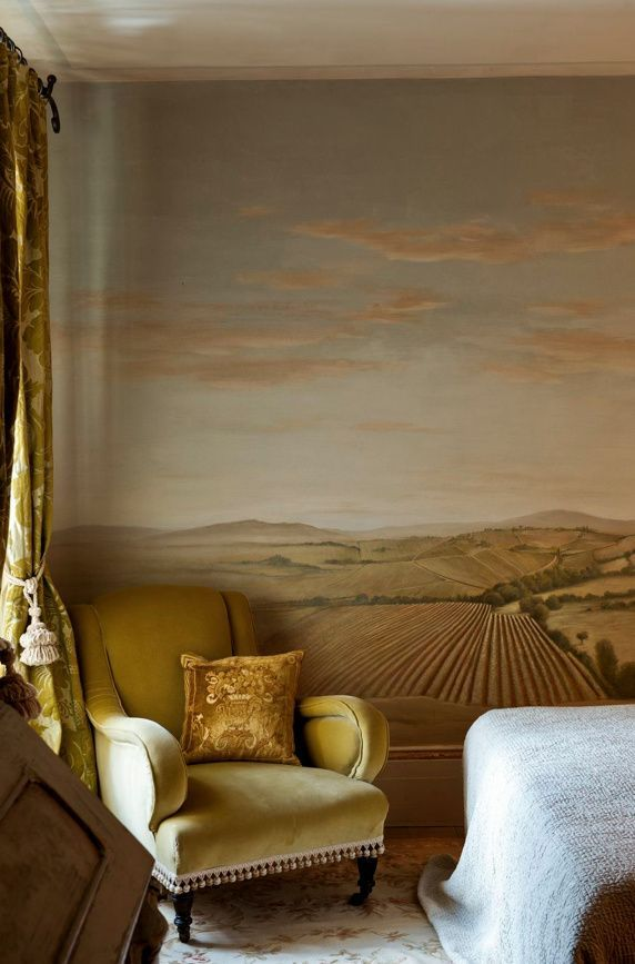Painted mural in warm tones. #loveBoutique hotel, Tuscany: Relais Borgo Santo Pietro