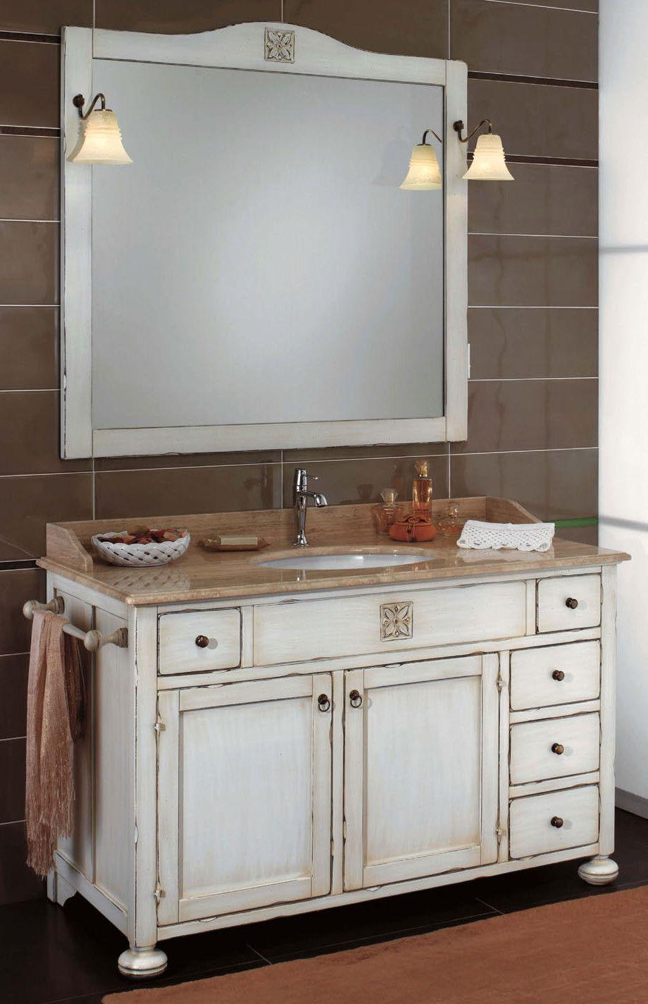 Maße: 130 x 61 x 205 cm Farbe: Antik-Weiß   Landhausstil Badmöbel ...