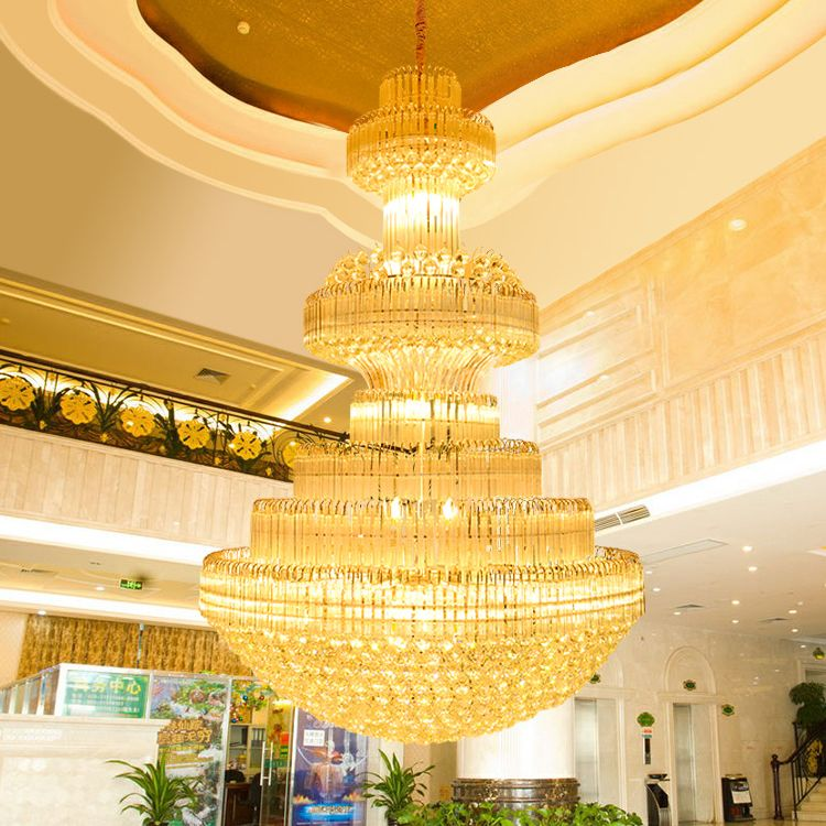 Gold Crystal Chandelier Modern Chandeliers Lights Fixture Led Lamps Hotel Lobby Parlor Clubs Home Indoor