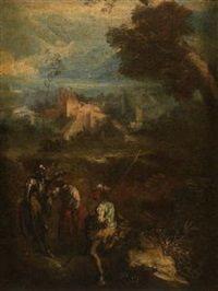 Ritter und Knecht im Gespräch mit einer Bäuerin vor einer Ruine Don Quixote und Sancho Panza by Salvator Rosa
