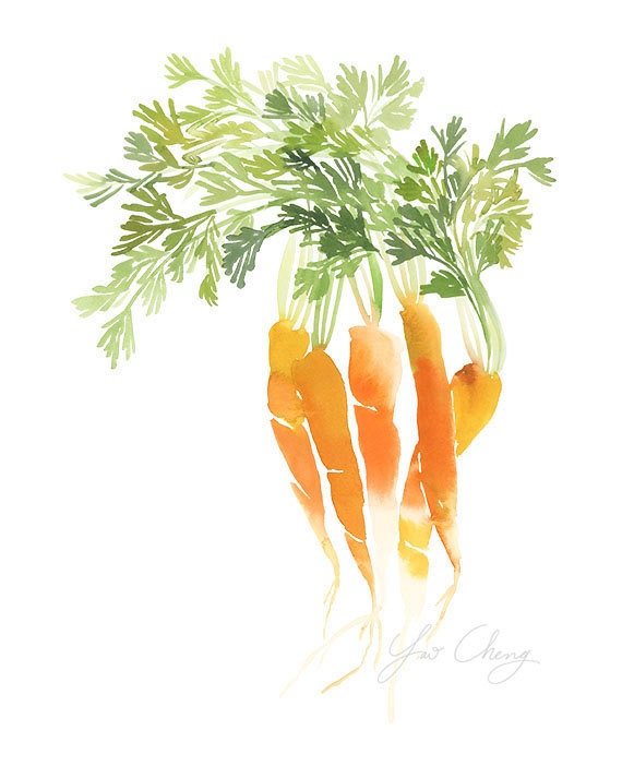 Carrot Top Watercolor Art Print By Yaochengdesign On Etsy