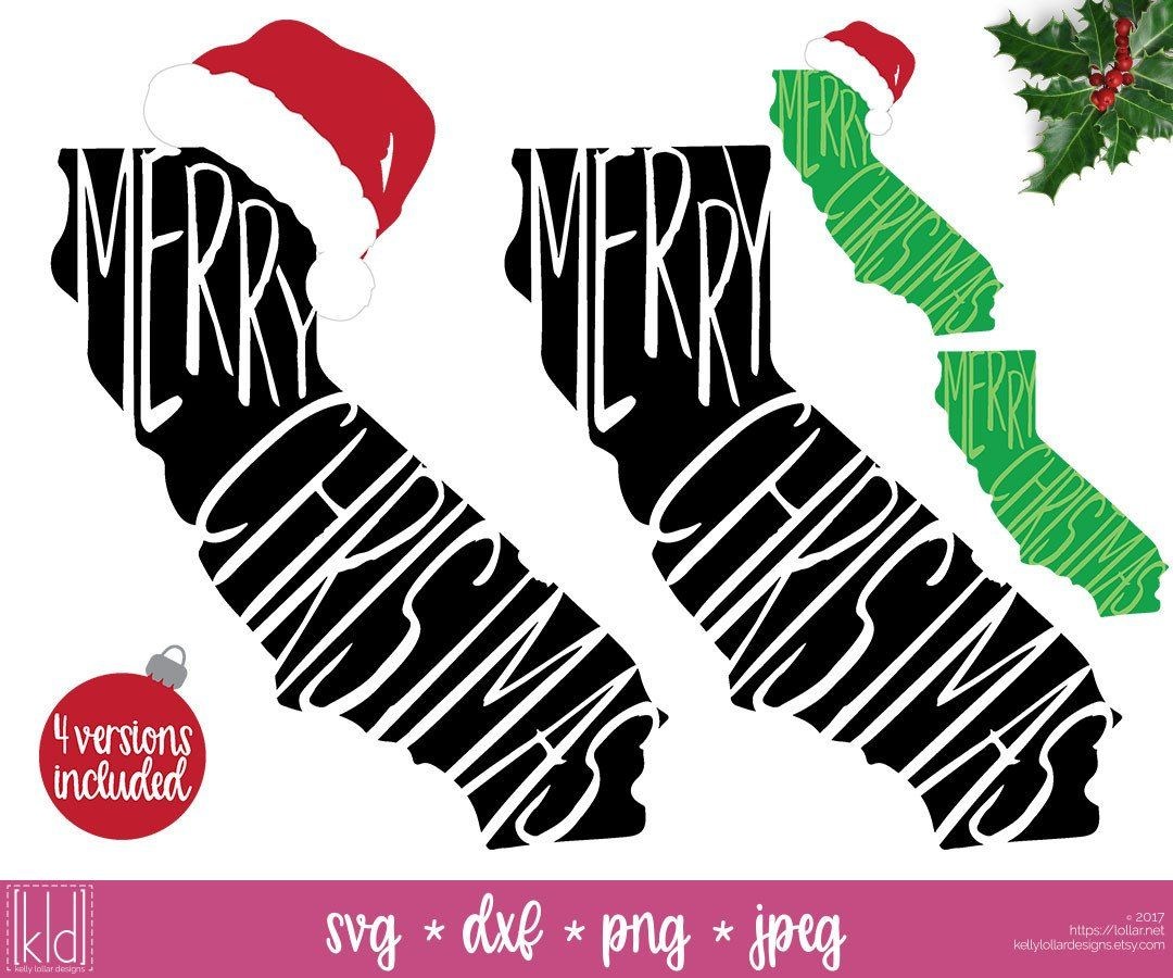 State of California Christmas svg pack with and without