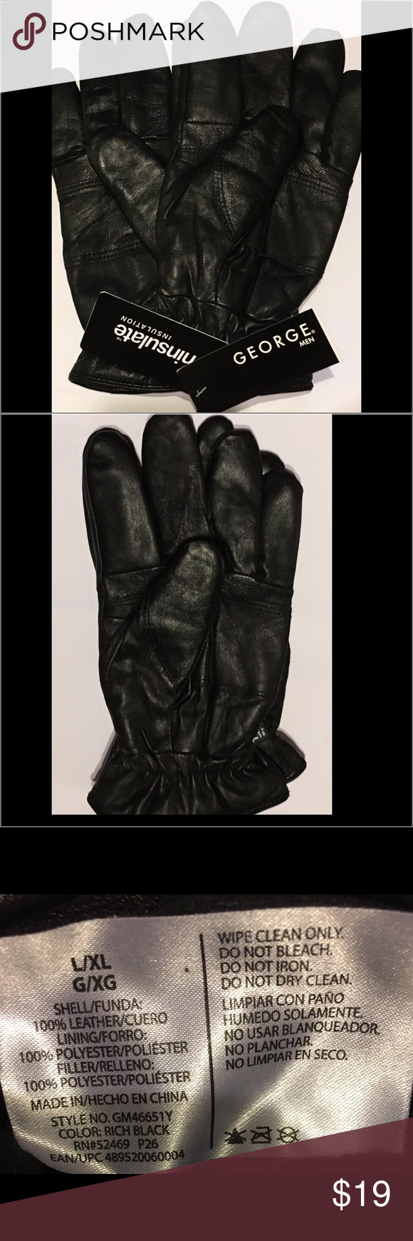 Mens black leather gloves xl - Thinsulste Men S Black Leather Gloves L Xl Nwt Accessories Leather Gloves And Warm